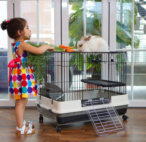 "Large 32"" Indoor 2-Floor Guinea Pig Rabbit Bunny Ferret Kitten Cage Hutch House"