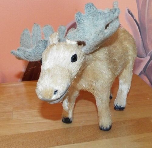 "NATURAL FIBERS 11"" LONG MOOSE FIGURINE."