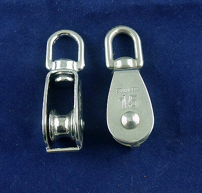 2 Pcs M15 Single Sheave.rope Pulley304 Stainless Steel Rope Pulley Pully