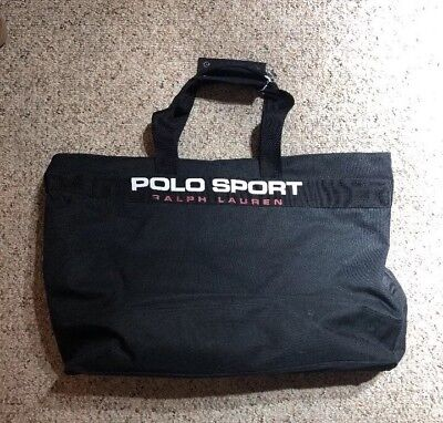 POLO SPORT Ralph Lauren Vintage JUMBO Large Spell out Canvas Tote Zipper Bag