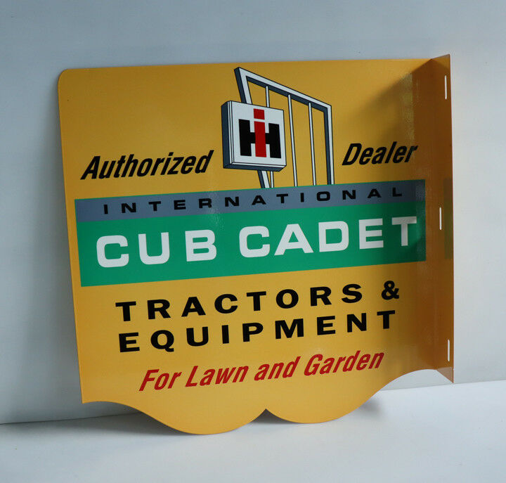 IH Cub Cadet Tractor Flange Sign   Lawn and Garden Mower Farm    Modern Retro