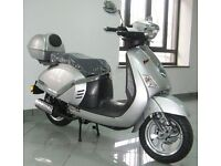 NEW 125cc SILVER LAMBRETTA MOTORCYCLE MOTORBIKE SCOOTER NO PREV OWNERS!