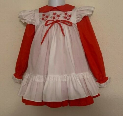 Vintage Bryan Girls Red Two Piece Dress Twirl Full Skirt White Pinafore 4T U.S.A