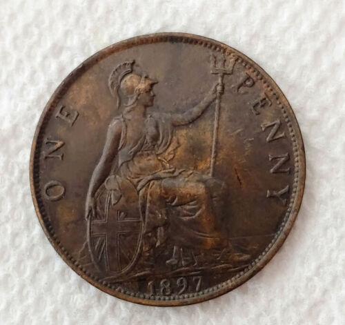 1897 Great Britain Cent One Penny Brown AU Condition  Victoria Portrait - C8655
