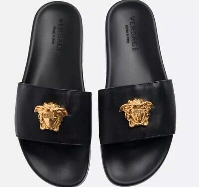 VERSACE x KITH MEDUSA GOLD HEAD BLACK GENUINE LEATHER SLIDES SIZE 13 US Mens DS