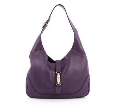 Gucci Jackie O Shoulder Bag Purple Leather Adjustable Strap Gold Clasp $2890