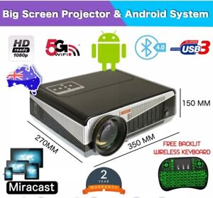 ANDROID TV MULTIMEDIA LED PROJECTOR WIFI 7000 LUMENS USB HDMI HD 1080P Hallam Casey Area Preview
