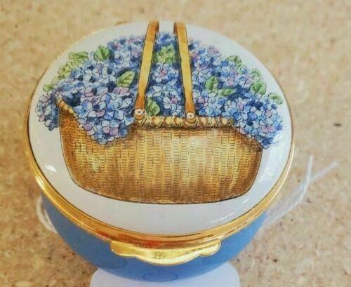 CRUMMLES Nantucket Mass Hydrangea Basket Enamel Box  ANDERSON