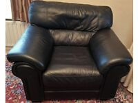 Black Leather Sofas - 3 seater + 1 armchair