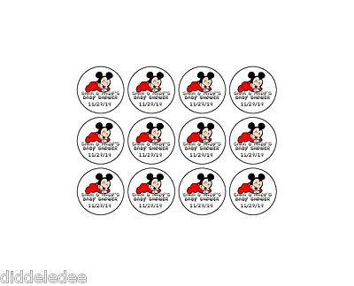 108 Boy Mickey Mouse Baby Shower Hershey Kiss Label Sticker Favors Personalize  - Mickey Mouse Baby Shower Favors