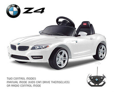 BMW Z4 Ride On Kids Battery Power Wheels Car + RC Remote Control White