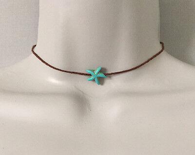 Brown Cord Turquoise Starfish Charm Choker Necklace, Beach Wear Sea Life (Brown Starfish)