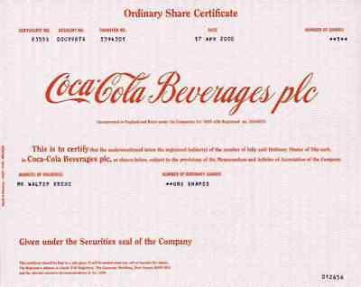 COCA COLA Beverages PLC April 2000 Wakefield Yorks GB Atlanta Delaware Old Stock