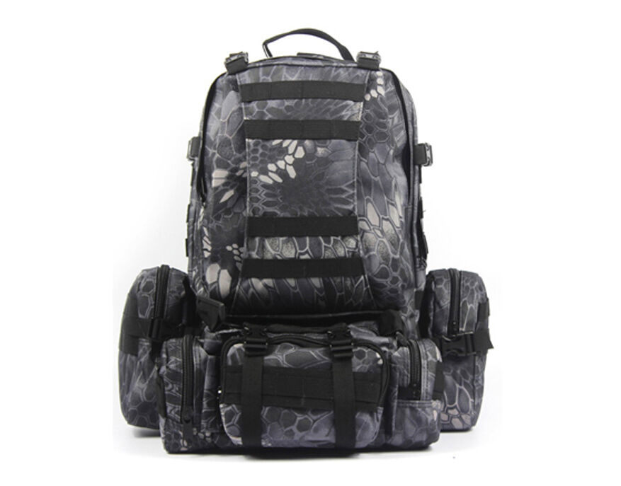 8L/10L/30L/55L/80L Outdoor Military Tactical Camping Hiking Trekking Backpack  55L Black Pythons Grain