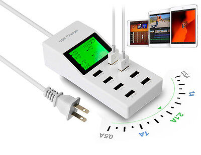 led 8 port usb power adapter socket