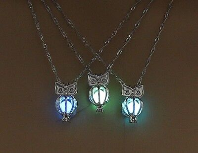 "OWL with GLOW IN THE DARK BALL 3/4"" Pendant on 18"" Necklace Luminous"