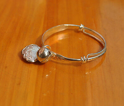 3X Charms Silver Plated Baby Kids Bangle Bells Bracelet Jewellery Gift SE