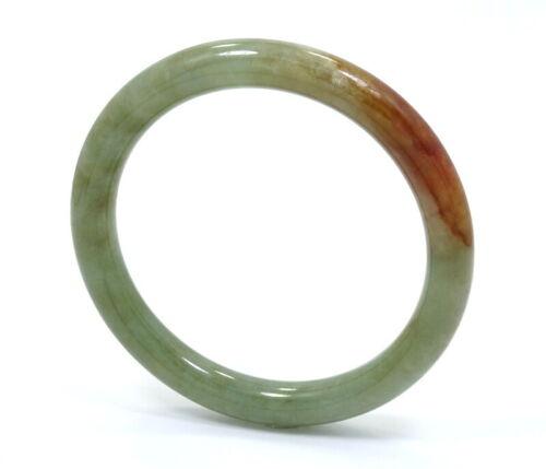 """VINTAGE JADE JADEITE Green / Red Bangle Bracelet  6 1/2"""" Circumference"""