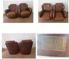 Retro leather arm chairs
