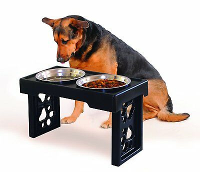 Elevated Adjustable Height Dog Cat Food Water Bowl Holder Pet Feeder Station Set