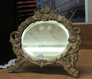 Antique Metal Oval Dresser mirror