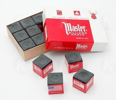 Master BLACK Pool Billiard Cue Q Stick Chalk Doz. Box 12-Pac