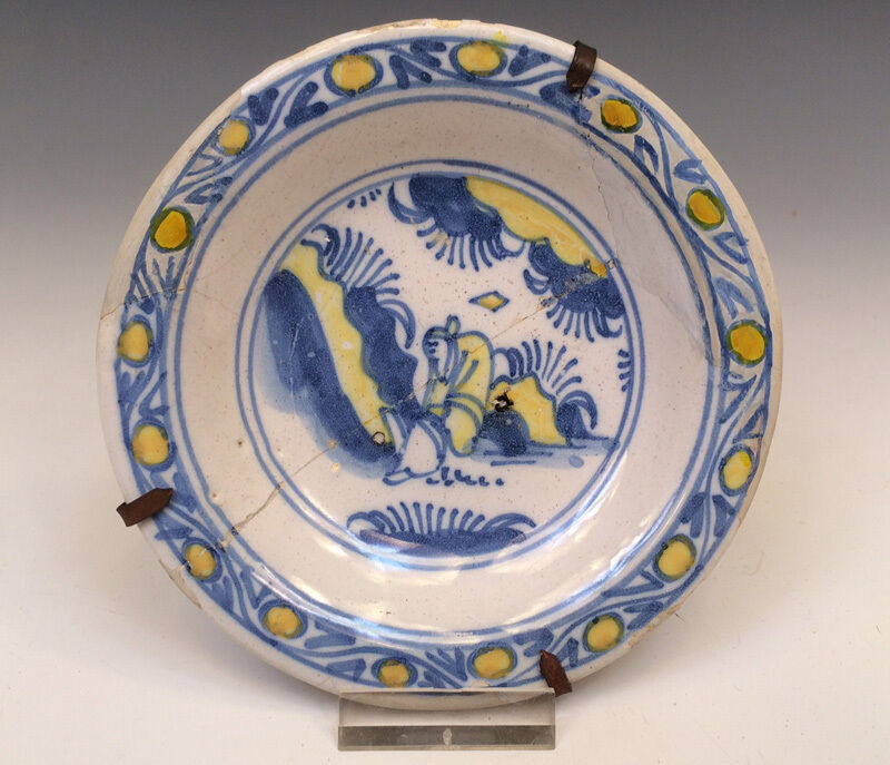 Antique Early Superb Dutch Delft Dish/Salt Chinoiserie Circa 1650 Excavated