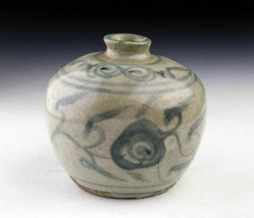 *SC* THAI / SAWANKHALOK BLUE & WHITE GLAZED POTTERY FLASK, 15TH-16TH CENT!
