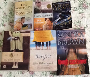 $5 each or 3/$10: books by Grisham, Sandra, Brown, Coonts, McKay