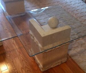 Contemporary Coffee &  End Tables, Glass & Carved Limestone Base Cambridge Kitchener Area image 5