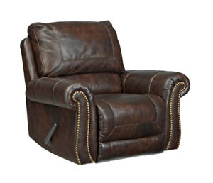 DARLA GENUINE LEATHER ROCKER RECLINER - NO TAX, FREE DELIVERY