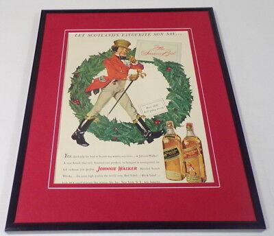 1951 Johnnie Walker Scotch Christmas Framed 11x14 ORIGINAL Vintage Advertisement