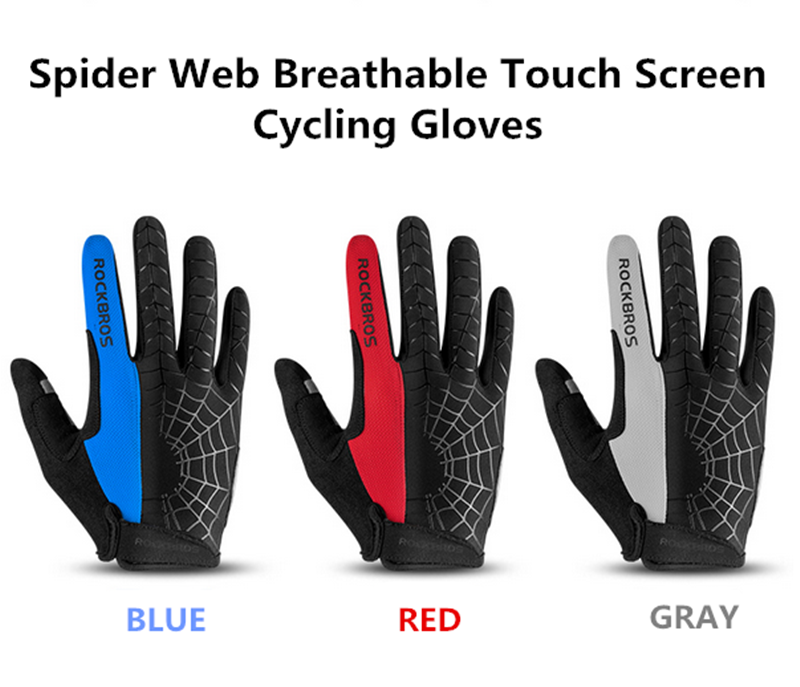 RockBros Cycling Long Full Finger Winter Warm Touch Screen Gloves-Cobweb Red