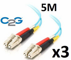 3 x C2G 33048 Aqua 5M 10Gb Fiber Patch Cables
