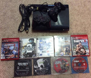 Playstation 3 with 2 Controllers and 9 Games!!