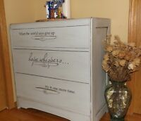 Pale blue vintage dresser with a little message of hope