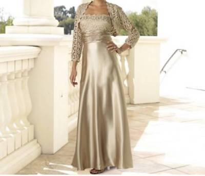 Mother of Bride Groom Wedding Formal Gown lace Bolreo jacket dress Size 16 $240