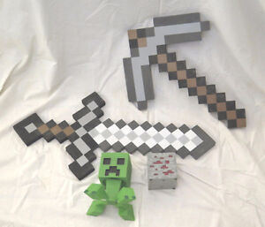 Minecraft Collectibles - Foam Sword Pickaxe Redstone Ore Creeper