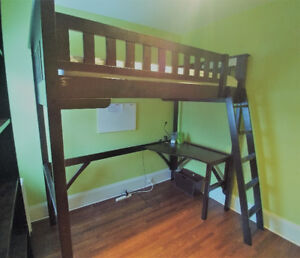 High Quality Wooden Bunk Bed and Desk Unit