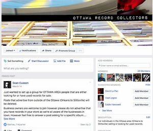 Facebook Group for Ottawa record buyers/collectors