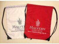 Malvern College nylon holdall gym/sports/swim/kit bag/rucksack etc, as new/unused in red and white
