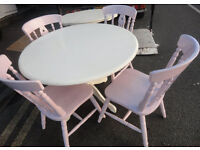 USED STURDY CONDITION, A NICE WHITE/PINK PAINTED ROUND TABLE & 4 CHAIRS