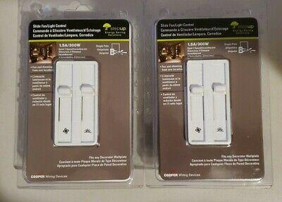 2X Cooper Core SDC15-W Skye Fan/Light Control 1.5A/300W White 3-Speed New