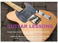 Guitar Lessons. Private, One To One Guitar Tuition. Grade 8 Fully Qualified Professional Instructor.