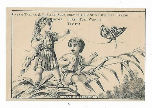 Old Trade Card Deland Baking Powder Fairport NY Gilbert Knoxville PA Butterfly