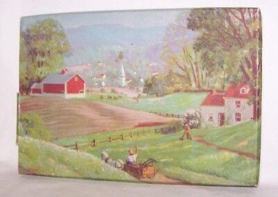 Vintage Boxed Handkerchief Set (3) Swiss Hand Loom Embroidery Farm Scene Box