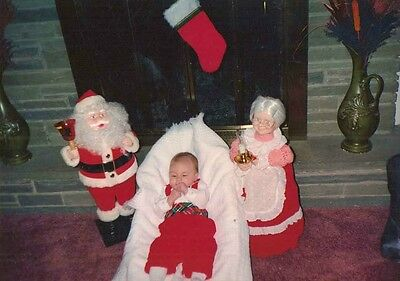 Vintage Photograph Santa & Mrs. Santa Doll With Baby Wearing Christmas Outfit - Baby Mrs Santa Outfit