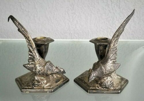 Pair Silverplate Pheasant Bird Candle Holders Weidlich Bros Bridgeport CT
