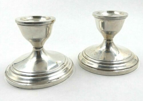 VINTAGE SET OF TWO (2) DUCHIN CREATION STERLING SILVER WEIGHTED CANDLE HOLDERS