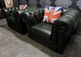 Stunning Pair of Chesterfield Club Chairs in Green Leather - UK Delivery